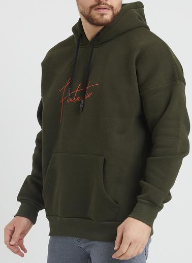 XHAN Pudra Baskılı Sweatshirt 1Kxe8-44367-50 Haki